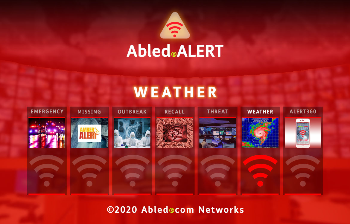 Abled.ALERT: WEATHER. Banner shows a photo of satellite photo of a hurricane formation over Florida. The red beacon for Emergency is lit up while beacons for the other categories are muted. Their photos are described on their category pages.