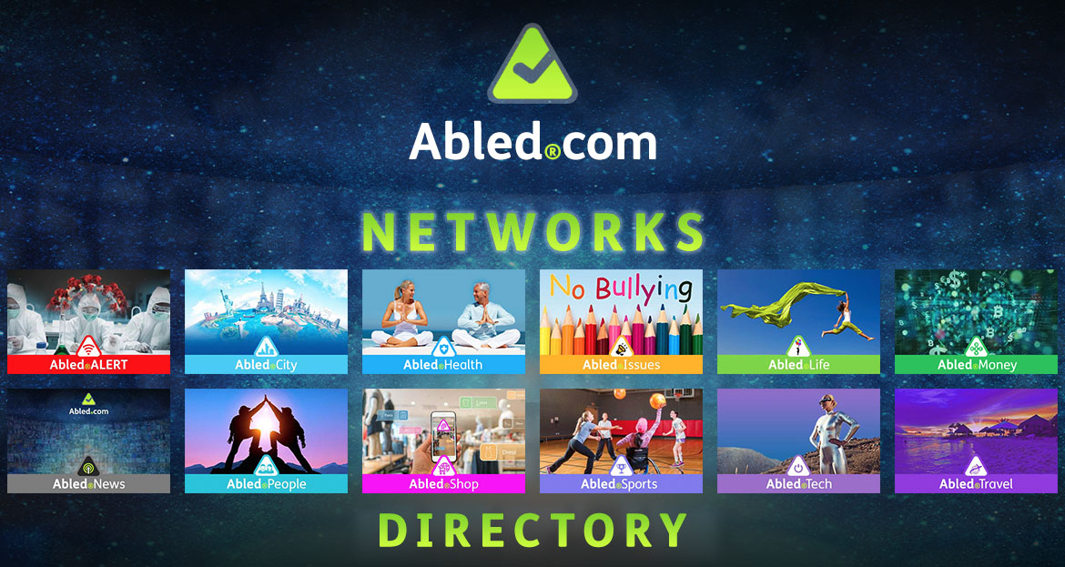 Abled.Networks: Directory banner set against a curved bank of monitors in a control room blended into a starry sky above the curve of the Earth. Each network is represented by a different name and color and their image is described in each module on our About page.
