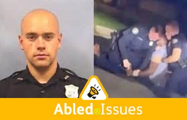 Abled.Issues: Composite photo showing a police photo of Atlanta Police Department officer Garrett Rolfe who is white, beside a video frame of two white police officers attempting to restrain black suspect Rayshard Brooks on the ground in a Wendy's parking lot in Atlanta.