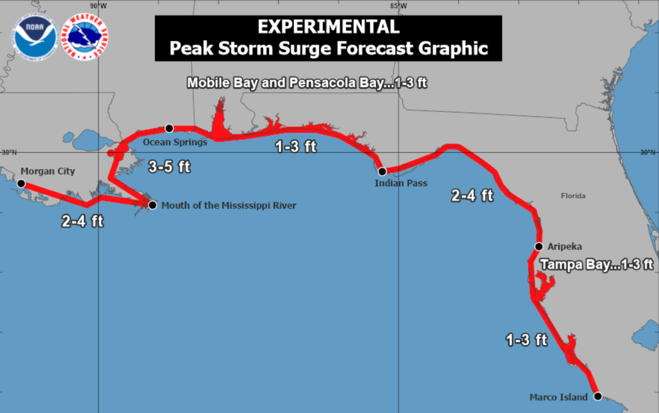 U.S. National Hurricane Center Map showing storm surge risk along the entire U.S. Gulf Coast. Starting at the western end from Morgan City to the mouth of the Mississippi River there is 2 to 4 foot surge forecast, rising to 3 to 5 feet as it curves around to Ocean Springs, easing a bit through Mobile Bay and Pensacola Bay to Indian Pass, rising again to between 2-4 feet as it moves down the west coast of Florida easing to 1 to 3 feet south of Tampa Bay down to Marco Island.