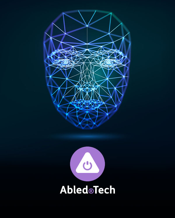 Abled.Tech Directory link. Computer generated image showing glowing lines connecting recognition points of the outline of a human face to represent virtual ID Scanning.