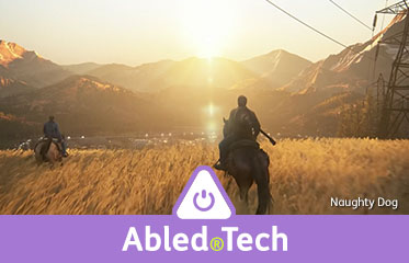 "Abled.Tech: Scene from the video game ""The Last of Us 2"" where two characters are riding into a sunrise/sunset on horseback approaching a city with mountains in the background."
