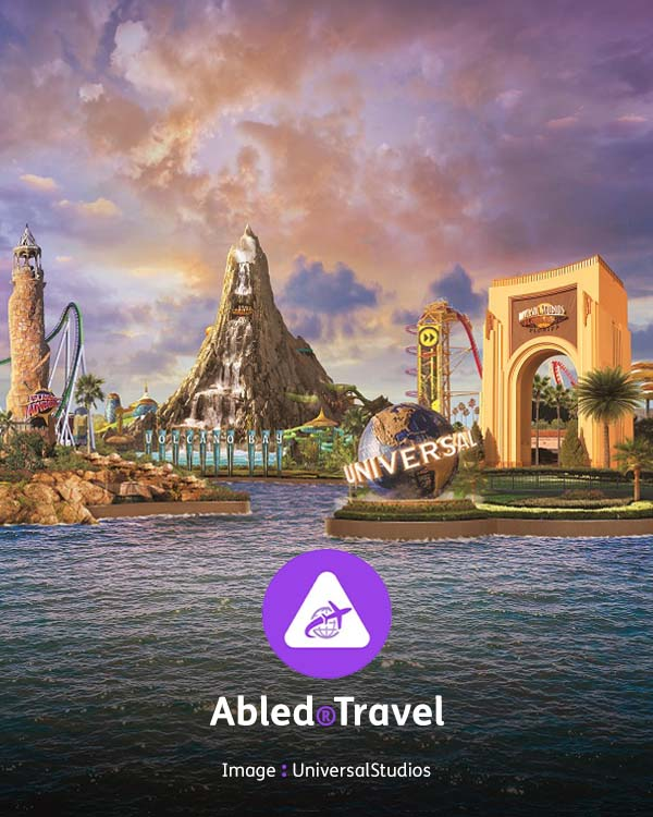 """Abled.Travel: A photo illustration shows the famous Universal Studios arched entry gate, as well as the logo globe with the word """"Universal"""" wrapped around it and the volcano water attraction """"The Spirit of Krakatau"""" sitting off Volcano Bay."""