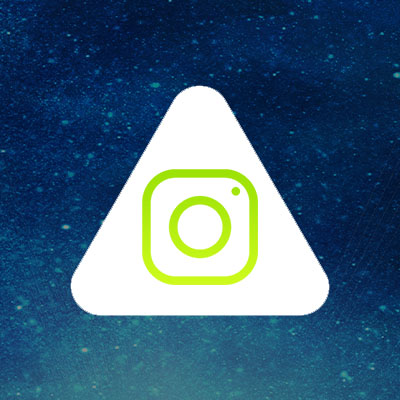 Abled.com: Instagram camera icon is centered in the rounded Abled triangle.