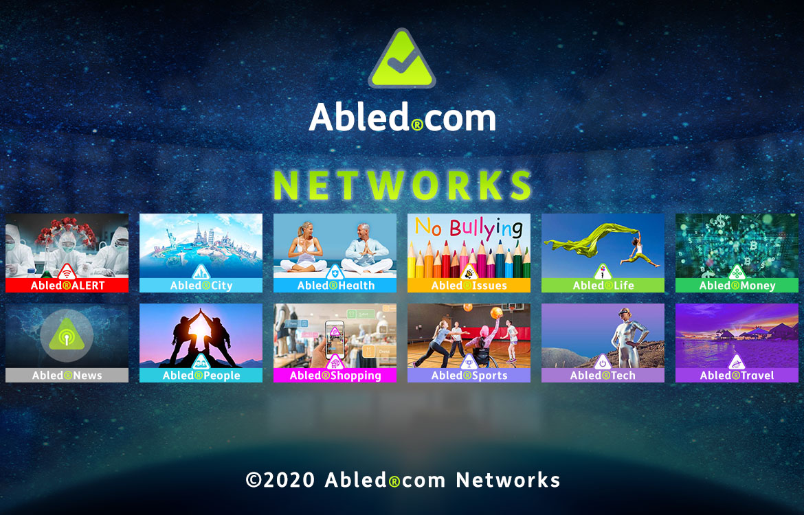 Abled.Networks: Abled.com Logo and text against a curved bank of monitors in a control room blended into a starry sky above the curve of the Earth. Each network is represented by a different name and color and their image is described further below on this page .