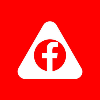 Abled.ALERT: Facebook icon centered in the Abled rounded triangle.