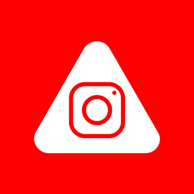 Abled.ALERT: Instagram camera icon centered inside the rounded Abled triangle.