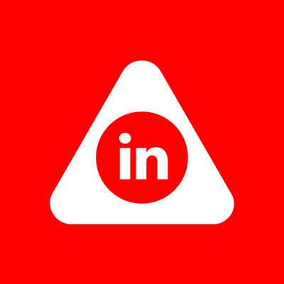 Abled.ALERT: Linked in icon consisting of the world 'in' inside a circle is centered in the rounded Abled triangle.