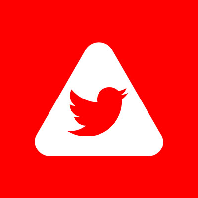 Abled.ALERT: Twitter bird icon centered in Abled rounded triangle.