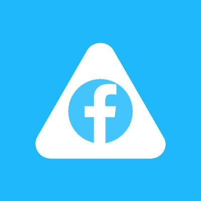 Abled.Health: Facebook logo is pictured inside the white rounded Abled triangle.