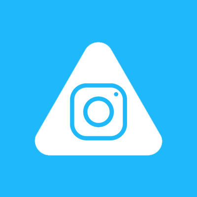 Abled.Health: Instagram camera icon is pictured centered in the white Abled rounded triangle.