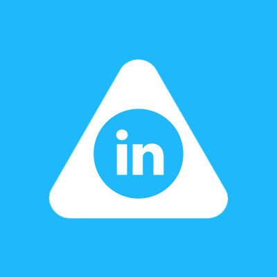 Abled.Health: Linked-in icon is centered in the white rounded Abled triangle.