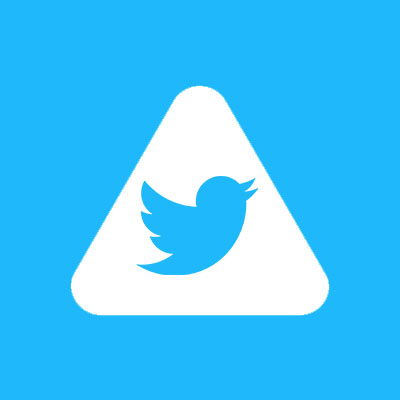 Abled.Health. Twitter bird icon is centered in the white rounded Abled triangle.