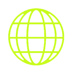 Green outline globe made of latitude and longitude meridians.