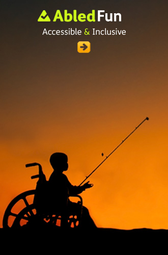 AbledFun network link shows the silhouette of a young boy fishing from his wheelchair against a deep orange sunset