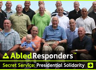 AbledResponders headline link banner shows a photo of former President Bush Senior sitting with the son of one of his Secret Serve Agents - both have shaved heads in support of the boy's battle against leukemia with the text headline: Secret Service: Presidential Solidarity. Click here to go to the article.
