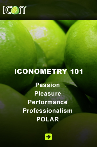 Link button for Icon Advertising shows a bunch of limes as white text on a gradient black background explains Iconometry 101-The 5 P's: Passion, Pleasure, Performance, Professionalism, Polar - the latter being a popular beer on the Caribbean island of Curaçao.