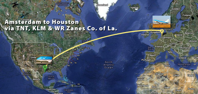 A map shows the route that Wagner's blood samples traveled via a KLM direct flight from Amsterdam to Houston.
