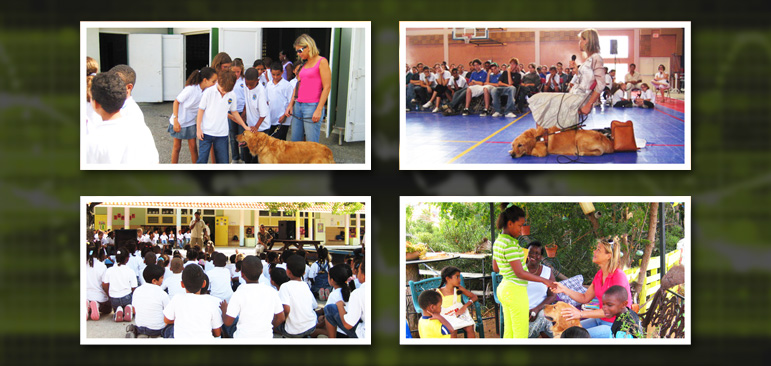 Laura Meddens and Wagner are shown in photos visiting a number of schools on the Caribbean island of Curaçao raising awareness about the role of guide dogs and access rights for the people who use them.