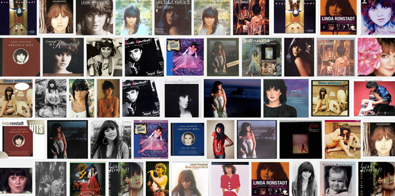 A montage of photos from Google Search shows the covers of some of Linda Ronstadt's albums.