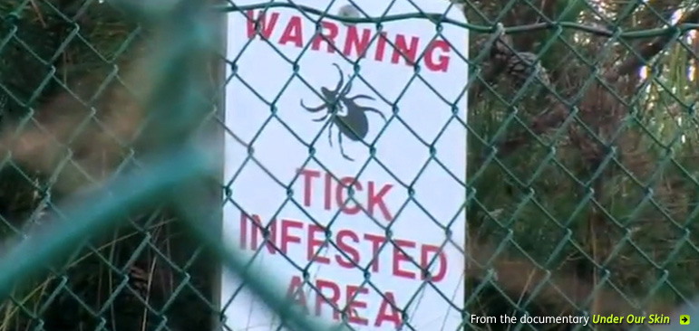 A screengrab from the documentary 'Under Our Skin' shows a sign that says 'Warning - tick infested area - through a chain-link fence. Click on the photo to go to the documentary website.