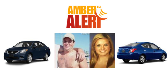 AbledKids Amber Alert banner contains photos of suspect James DiMaggio and kidnapping victim Hannah Anderson as well as front and rear views of the dark blue NIssan Versa sedan thr suspect was believed to be driving.