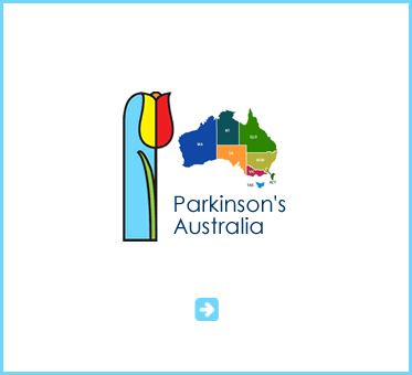 Abled Public Service Ad link to Parkinson's Australia shows a multi-colored map showing the different regions of the country along with a line art drawing of a red, orange and yellow tulip.
