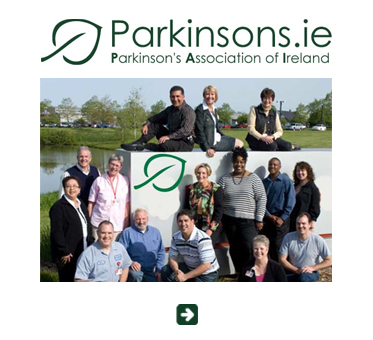 Abled Public Service Ad link to the Parkinson's Association of Ireland shows a photo of a group of people gathered outside around a sign showing the line art green leaf that's part of the organizations logo.