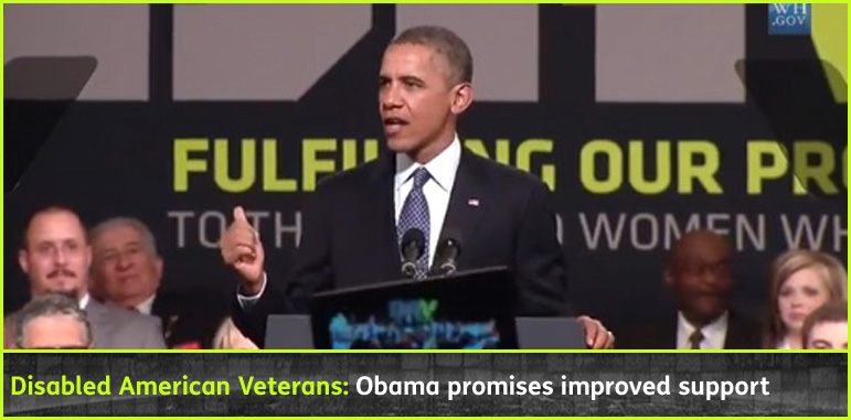 AbledWarriors story banner shows U.S. President Barrack Obama is shown speaking at the Disabled American Veterans Association Conference in Orlando, Florida.