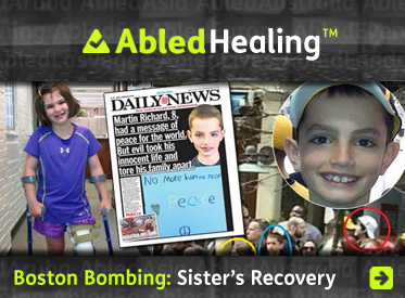 AbledHealing story link headline reads 'Boston Bombing: Sister's Recovery' and shows a front page from the New York Daily News that featured 8 year old victim martin Richard and his message of peace while also showing a photo of his younger sister Jane, who survived the blasts, trying out her new prosthetic leg using crutches.