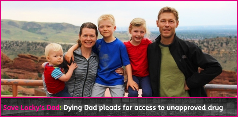 AbledCauses story banner shows Nick and Amy Auden of Lone Tree, Colorado and their three young kids with the headline: Save Locky's Dad: Dying Dad Pleads For Unapproved Drug.