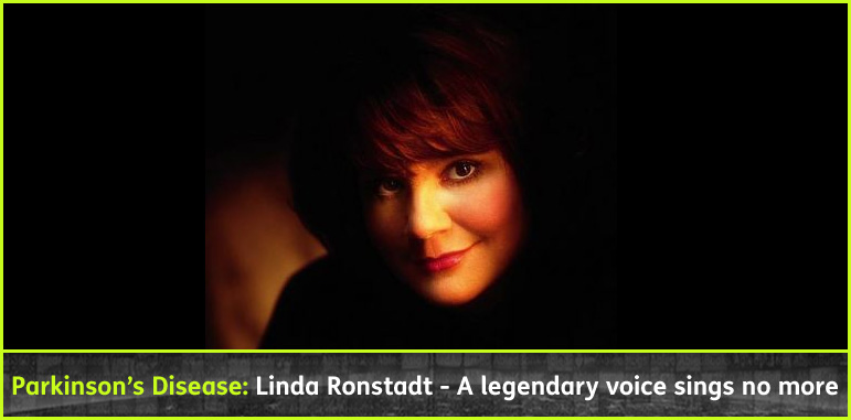 AbledConditions story headline shows a soft-lit photo of Linda Ronstadt with the headline: Parkinson's Disease: Linda Ronstadt - A legendary voice sings no more