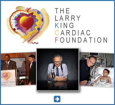 Abled Public Service Ad for the Larry King Cardiac Foundation shows their logo in the form of a stylized heart as well as photos of Larry King at his microphone, with a young cardiac patient in the hospital and a photo from one of the Foundations Gala fundraising events. Click here to go to their website.