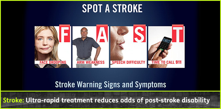 AbledResponders story banner shows the 'FAST' method for assessing a stroke-F= Face dropping, A= Arm weakness, S= Speech Difficulty, T= Time to call 911 or 112 in EU. The headline reads 'Stroke: Ulstra-rapid treatment reduces odds of post-stroke disability.