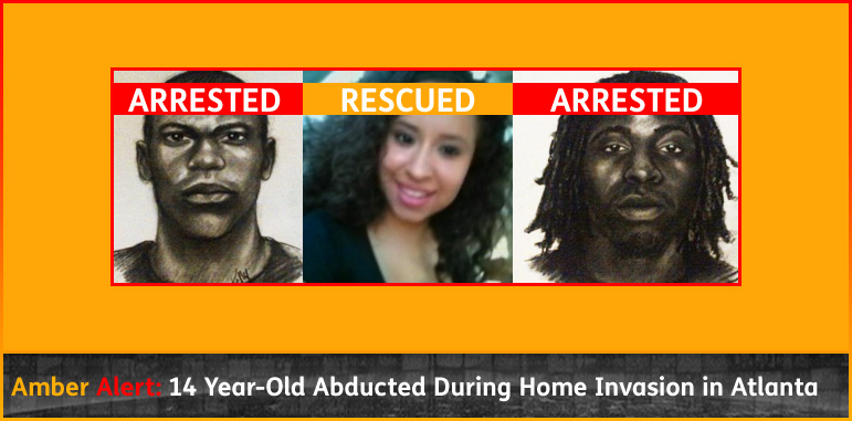 AmberAlert headline box shows a photo of 14 year old Ayvani Hope Perez. She is Hispanic with brown eyes and black hair and a pretty smile. It also shows sketches of the two black male kidnappers. Updated banners say 'Arrested' over the suspect sketches while a banner over Ayvani's photo reads 'Rescued'. Click to go to the updated story.