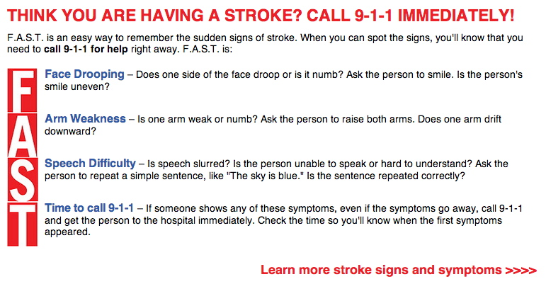 Abledresponders-graphic insert shows the American Stroke Association and American Heart Association 'FAST' method for assessing a stroke-F= Face dropping, A= Arm weakness, S= Speech Difficulty, T= Time to call 911 or 112 in EU.