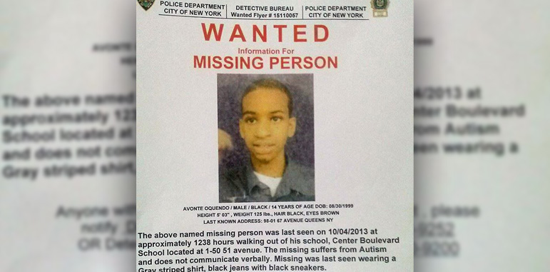 A photo shows a Missing Person poster saying 'Wanted-information for Missing Person Avante Oquendo with a photo of the missing teen and information about his description and police contact numbers that will be listed in the following article.