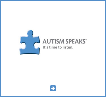 Abled Public Service Ad for Autism Speaks shows a jigsaw puzzle piece that resembles a person with the text Autism Speaks - It's time to listen. Click here to go to the organization's website.