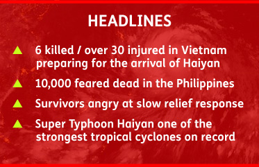 AbledALERT-Super Typhoon Haiyan reads: 6 killed and over 30 injured in Vitenam preparing for the arrival of Haiyan. 10 thousand feared dead in the Philippines. Survivors angry at slow relief response. Super Typhoon Haiyan one of the strongest tropical cyclones on record.