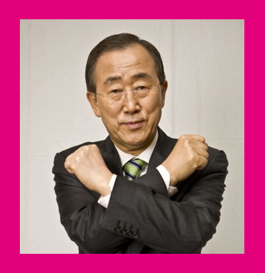 AbledCauses - photograph shows United Nations Secretary-General Ban Ki-moon with his forearms crossed in front of him as part of the Get Cross - Stop Rape Campaign.