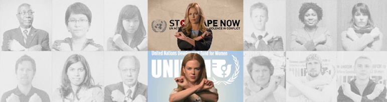 AbledCauses-U.N. Stop Rape Campaign banner featuring photographs of people with their forearms crossed in a blocking move - the central color photos are of actresses and U.N. Spokeswomen Charlize Theron and Nicole Kidman.