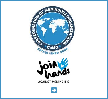 Abled Public Service Ad for the Confederation of Meningitis Organizations. Their logo consists of their name circling a round map of the world.  The words join hands against meningitis are shown next to an illustration of a hand. Click here to go to their website.