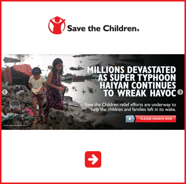 Abled Public Service Ad - Save The Children Typhoon Relief. Click here to make a donation.