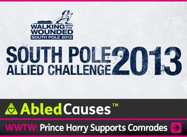 AbledCauses Post link Banner shows the logo for Walking with the Wounded South Pole Allied Challenge 2013 which shows an illustration of a wounded vet with a prosthetic leg cross-country skiing towing a baggage sled and wearing a backpack. The headline reads: Prince Harry Supports Comrades. Click here to go to the post.