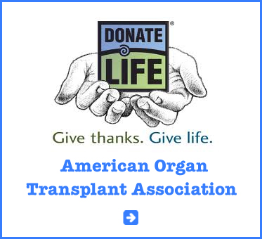 Abled Public Service Ad for the American Organ Transplant Association shows a pair of illustrated hands holding a square blue and green card saying Donate Life. Give thanks. Give Life. Click here to go to their website.