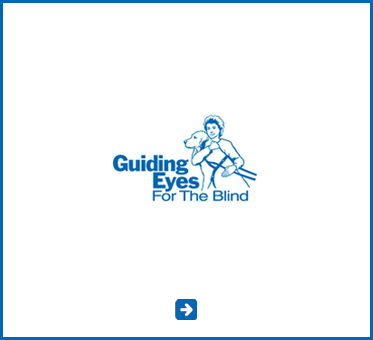 Abled Public Service Ad for Guiding Eyes For The Blind. The logo shows an outline illustration of a person hugging their guide dog, apparent by the harness that is visible. Click to go to their website for an update on Cecil WIlliams and Orlando.