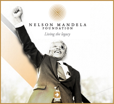 Abled Public Service link to The Nelson Mandela Foundation shows a photo looking up at the late President as he gives his trademark closed-fist salute with a stylized sun symbol above the name of the foundation. Click here to go to the website.