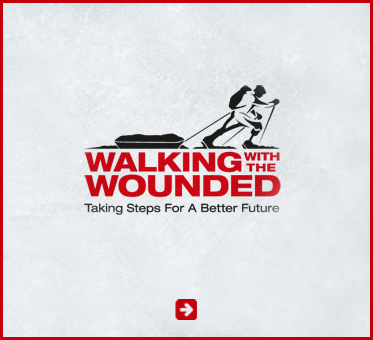 Abled Public Service Ad for Walking With The Wounded. Their logo depicts a disabled veteran with an artificial leg cross country skiing and pulling a sled with supplies. CLick here to go to their website.