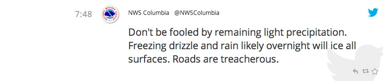 AbledALERT screengrab of a tweet from the National Weather Service in Columbia, South Carolina reads: Don't be fooled by remaining light precipitation. Freezing drizzle and rain likely overnight will ice all surfaces. Roads are treacherous.