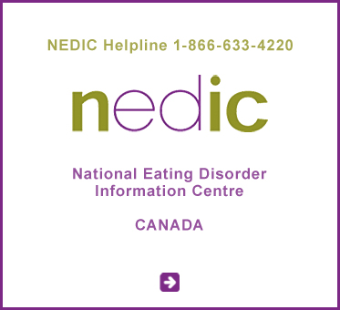 Abled Public Service link to the National Eating Disorder Information Centre (NEDIC) Canada. Text also shows their toll-free hotline which is 1- 8 6 6 - 6 3 3 - 4 2 2 0. Click here to go to their website.